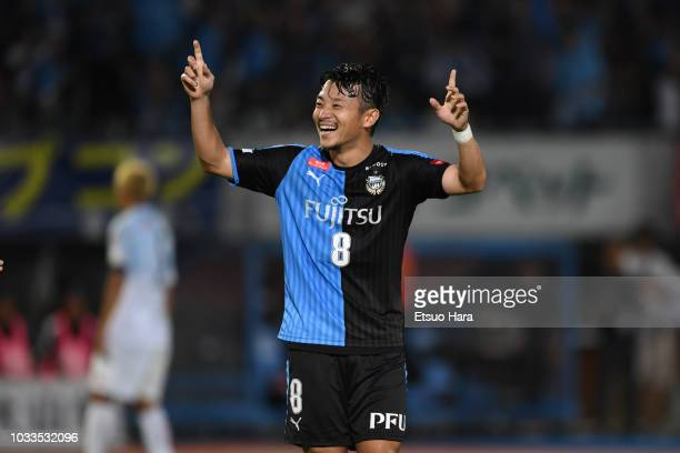 Hiroyuki Abe of Kawasaki Frontale celebrates scoring his side's third goal during the JLeague J1 match between Kawasaki Frontale and Consadole...