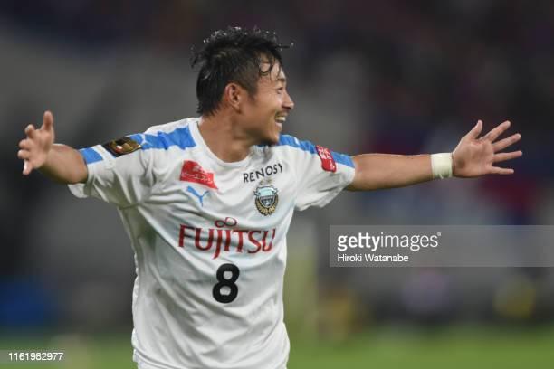Hiroyuki Abe of Kawasaki Frontale celebrates scoring his team's third goal during the JLeague J1 match between FC Tokyo and Kawasaki Frontale at...