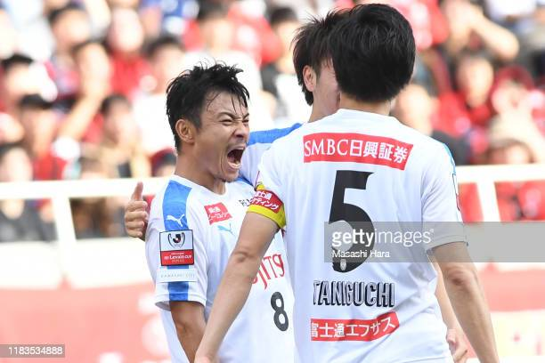 Hiroyuki Abe of Kawasaki Frontale celebrates the first goal during the JLeague Levain Cup Final between Consadole Sapporo and Kawasaki Frontale at...