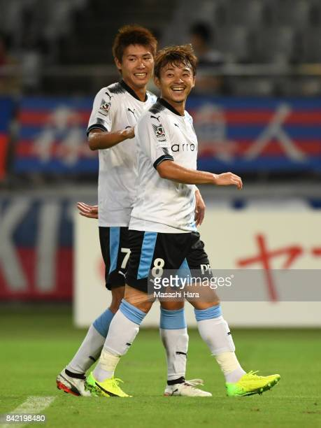 Hiroyuki Abe of Kawasaki Frontale celebrates the fourth goal during the JLeague Levain Cup quarter final second leg match between FC Tokyo and...