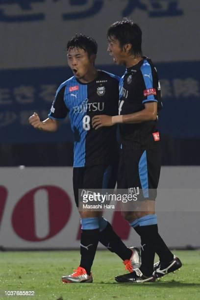 Hiroyuki Abe of Kawasaki Frontale celebrates the second goal during the JLeague J1 match between Kawasaki Frontale and Nagoya Grampus at Todoroki...
