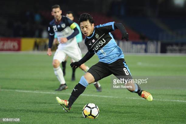 Hiroyuki Abe of Kawasaki Frontale competes for the ball during the AFC Champions League Group F match between Kawasaki Frontale and Melbourne Victory...