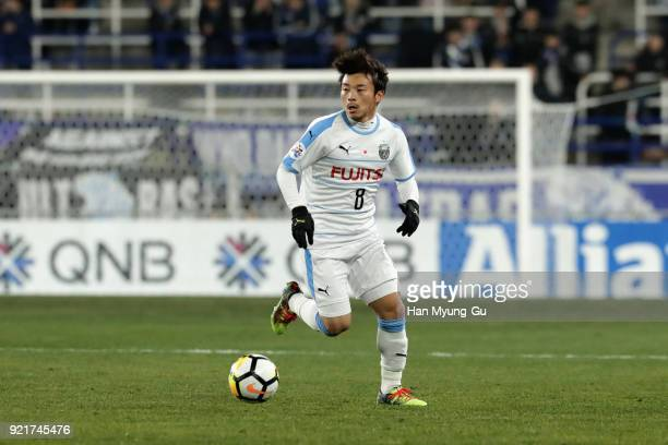 Hiroyuki Abe of Kawasaki Frontale in action during the AFC Champions League Group F match between Ulsan Hyundai and Kawasaki Frontale at Ulsan Munsu...