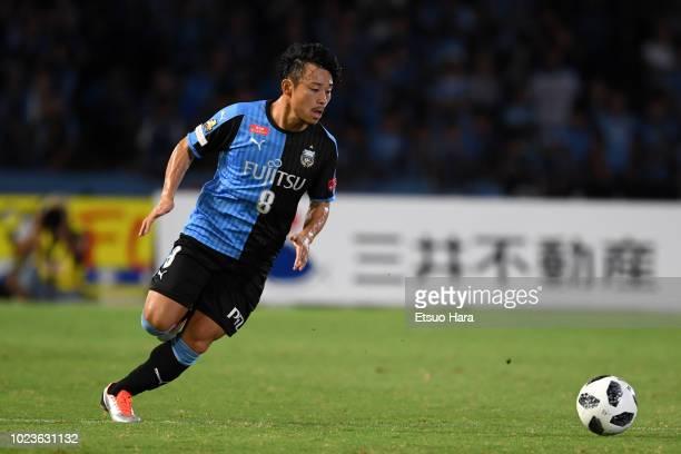 Hiroyuki Abe of Kawasaki Frontale in action during the JLeague J1 match between Kawasaki Frontale and Vegalta Sendai at Todoroki Stadium on August 25...
