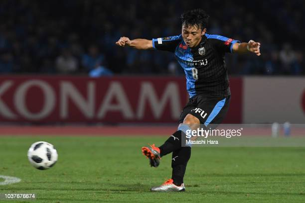 Hiroyuki Abe of Kawasaki Frontale in action during the JLeague J1 match between Kawasaki Frontale and Nagoya Grampus at Todoroki Stadium on September...