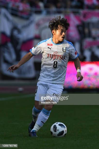 Hiroyuki Abe of Kawasaki Frontale in action during the JLeague J1 match between Cerezo Osaka and Kawasaki Frontale at Yanmar Stadium Nagai on...