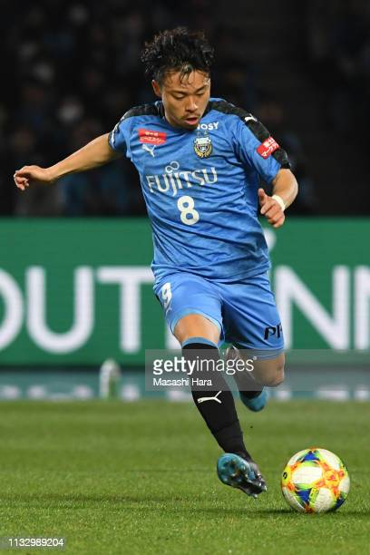 Hiroyuki Abe of Kawasaki Frontale in action during the JLeague J1 match between Kawasaki Frontale and Kashima Antlers at Todoroki Stadium on March 01...
