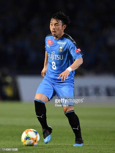 Hiroyuki Abe of Kawasaki Frontale in action during the JLeague J1 match between Kawasaki Frontale and Cerezo Osaka at Todoroki Stadium on April 05...
