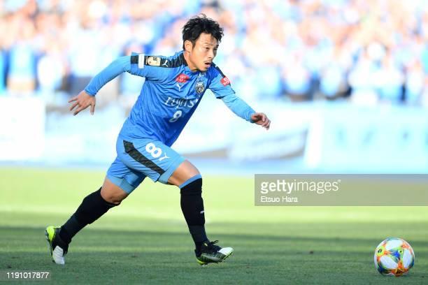 Hiroyuki Abe of Kawasaki Frontale in action during the JLeague J1 match between Kawasaki Frontale and Yokohama FMarinos at Todoroki Stadium on...
