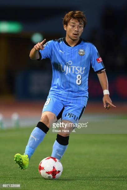 Hiroyuki Abe of Kawasaki Frontale in action during the JLeague J1 match between Kawasaki Frontale and Sanfrecce Hiroshima at Todoroki Stadium on June...