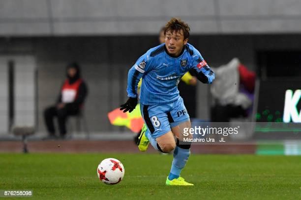 Hiroyuki Abe of Kawasaki Frontale in action during the JLeague J1 match between Kawasaki Frontale and Gamba Osaka at Todoroki Stadium on November 18...