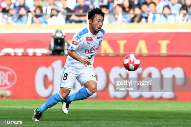 Hiroyuki Abe of Kawasaki Frontale in action during the JLeague Levain Cup Final between Consadole Sapporo and Kawasaki Frontale at Saitama Stadium on...