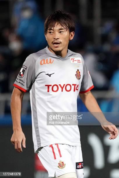 Hiroyuki Abe of Nagoya Grampus looks on during the JLeague Meiji Yasuda J1 match between Yokohama FC and Nagoya Grampus at NHK Spring Mitsuzawa...