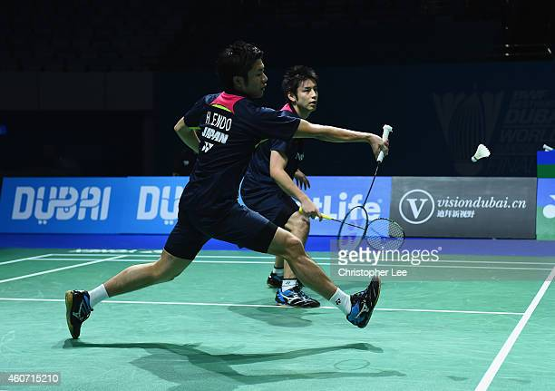 Hiroyuki Endo and Kenichi Hayakawa of Japan in action against Chai Biao and Hong Wei of China in the Mens Doubles during the BWF Destination Dubai...