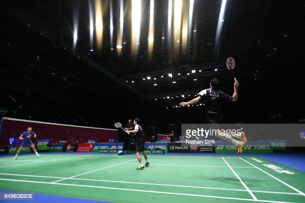 Hiroyuki Endo and Yuta Watanabe of Japan in action during day two of YONEX All England Open Badminton Championships at Birmingham Barclaycard Arena...