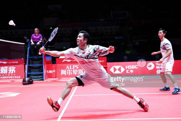 Hiroyuki Endo and Yuta Watanabe of Japan in action during the men's doubles semi final match against Marcus Fernaldi Gideon and Kevin Sanjaya...