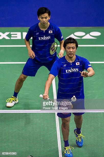 Hiroyuki Endo Yuta Watanabe of Japan against Solgyu Choi Ko Sung Hyun Korea during the YONEXSUNRISE Hong Kong Open Badminton Championships 2016 at...