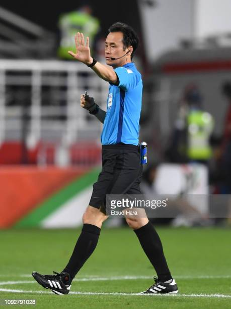 Hiroyuki Kimura of Japan gestures during the AFC Asian Cup Group C match between the Philippines and China at Mohammed Bin Zayed Stadium on January...