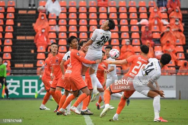 Hiroyuki KOMOTO of Omiya Ardija and Kisho YANO of Tochigi SC battle for the ball during the J.League Meiji Yasuda J2 match between Omiya Ardija and...