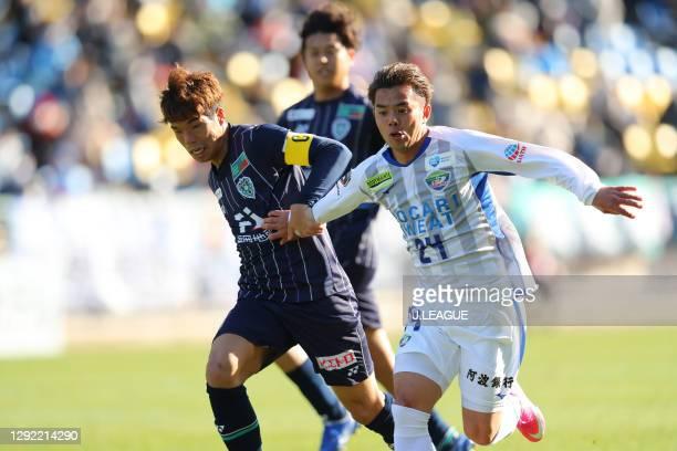 Hiroyuki MAE of Avispa Fukuoka and Kazuki NISHIYA of Tokushima Vortis battle for the ballduring the J.League Meiji Yasuda J2 match between Avispa...