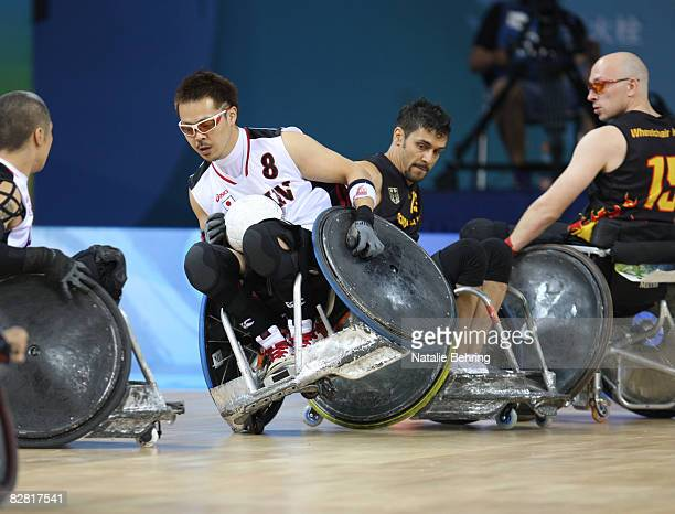 Hiroyuki Misaka of Japan is seen during the Wheelchair Rugby match between Germany and Japan at Beijing Science and Technology University Gymnasium...