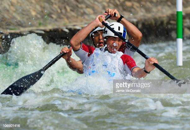 Hiroyuki Nagoe and Masatoshi Samma of Japan competes in the Men's Canoe Double Final slalom during day four of the 16th Asian Games Guangzhou 2010 at...