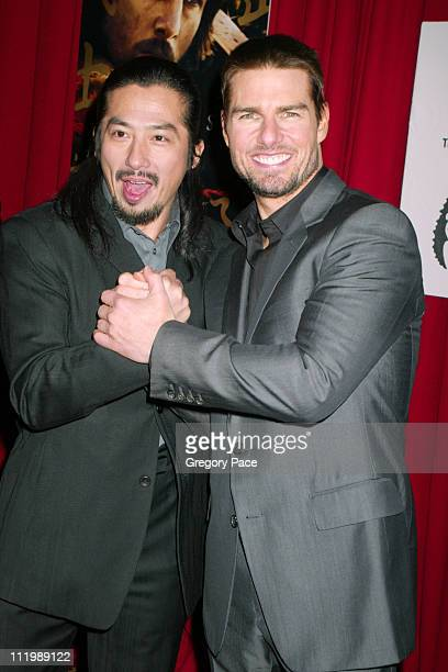 Hiroyuki Sanada and Tom Cruise during The Last Samurai New York Premiere Inside Arrivals at The Ziegfeld Theater in New York City New York United...