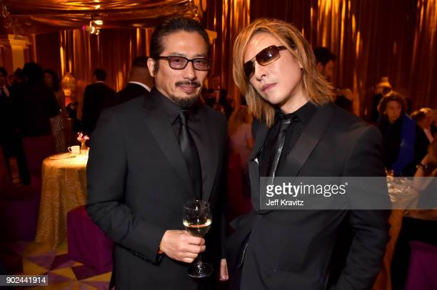 Hiroyuki Sanada and Yoshiki of X Japan attend HBO's Official 2018 Golden Globe Awards After Party on January 7 2018 in Los Angeles California