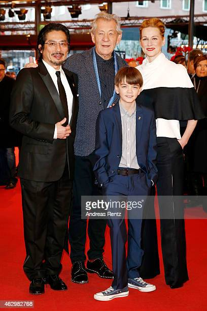 Hiroyuki Sanada Ian McKellen Milo Parker and Laura Linney attend the 'Mr Holmes' premiere during the 65th Berlinale International Film Festival at...