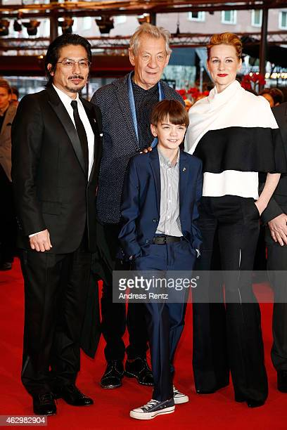 Hiroyuki Sanada Ian McKellen Milo Parker and Laura Linney attend the 'Mr Holmes' premiere during the 65th Berlinale International Film Festival at...