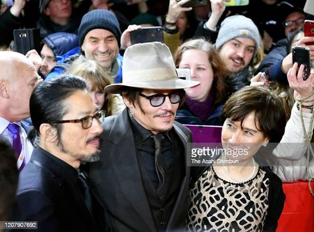 Hiroyuki Sanada Johnny Depp and Aileen Mioko Smith attend the Minamata Premiere at the 70th Berlinale International Film Festival Berlin at Grand...