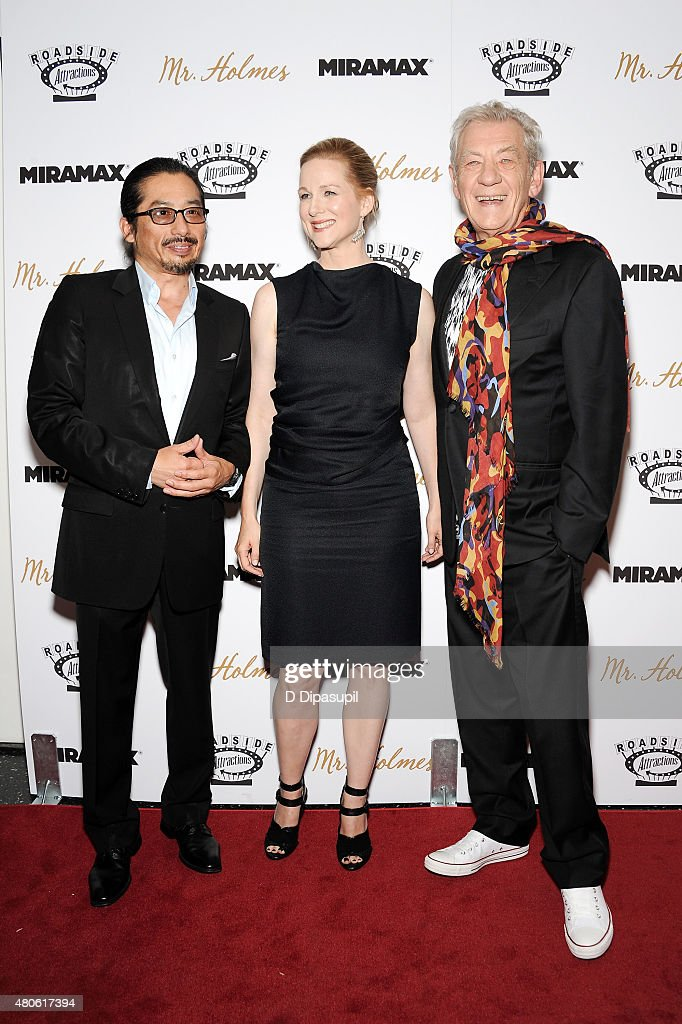 Hiroyuki Sanada, Laura Linney, and Sir Ian McKellen attend the 'Mr. Holmes' New York Premiere at the Museum of Modern Art on July 13, 2015 in New York City.