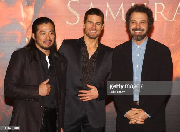 Hiroyuki Sanada Tom Cruise and Edward Zwick during The Last Samurai Madrid Premiere Inside Arrivals January 08 2004 at Palacio de la Musica Cinema in...