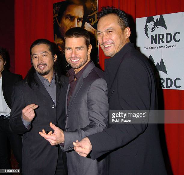 Hiroyuki Sanada Tom Cruise and Kan Watanabe during The Last Samurai New York Premiere at The Zeigfeld Theater in New York City New York United States