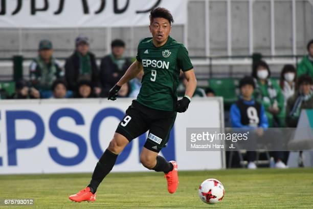 Hiroyuki Takasaki of Matsumoto Yamaga in action during the JLeague J2 match between Matsumoto Yamaga and Kamatamare Sanuki at Matsumotodaira Park...