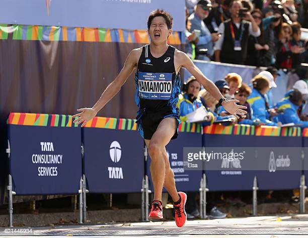 Hiroyuki Yamamoto of Japan competes in the Professional Men's Division during the 2016 TCS New York City Marathon in Central Park on November 6 2016...