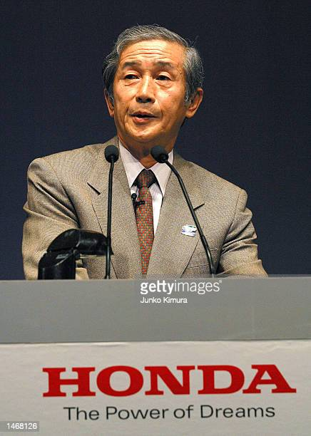 Hiroyuki Yoshino President and CEO of Honda Motor Company Ltd speaks at a press conference on October 10 2002 in Tokyo Japan Honda announced the...