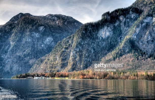 hirschau peninsula - lake königssee, germany - berchtesgaden national park stock photos and pictures