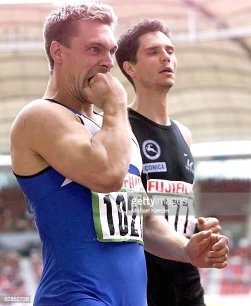 MEISTERSCHAFTEN 2001 Hirschau SIEGER Mike FENNER vor Florian SCHWARTHOFF 110m Huerden/Maenner