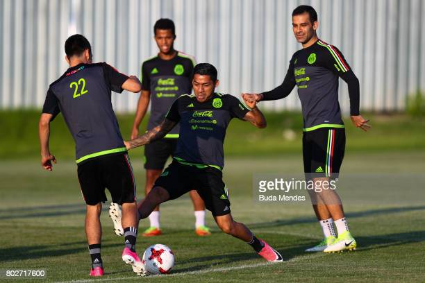 Hirving Lozano and Javier Aquino in action during a Mexico training session at Adler training ground ahead of their FIFA Confederations Cup Russia...