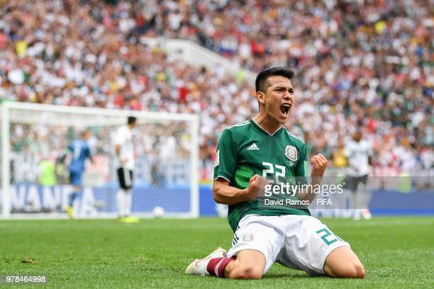 Hirving Lozano of Mexico celebrates after scoring his team's first goal during the 2018 FIFA World Cup Russia group F match between Germany and...
