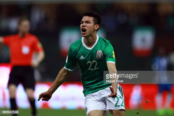Hirving Lozano of Mexico celebrates after scoring his team's second goal during the match between Mexico and Honduras as part of the FIFA 2018 World...
