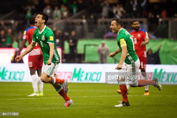 Hirving Lozano of Mexico celebrates after scoring the first goal of his team during the match between Mexico and Panama as part of the FIFA 2018...