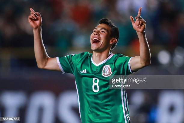 Hirving Lozano of Mexico celebrates after scoring the first goal of his team during the match between Mexico and Trinidad Tobago as part of the FIFA...