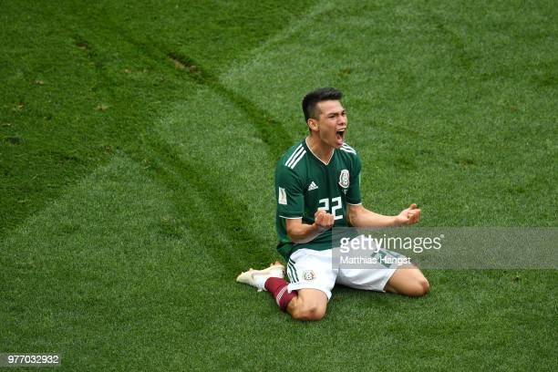 Hirving Lozano of Mexico celebrates by sliding on his knees after scoring his team's first goal during the 2018 FIFA World Cup Russia group F match...