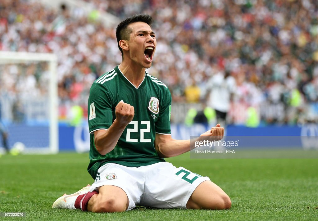 Hirving Lozano of Mexico celebrates by sliding on his knees after scoring his team's first goal during the 2018 FIFA World Cup Russia group F match between Germany and Mexico at Luzhniki Stadium on June 17, 2018 in Moscow, Russia.