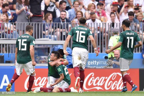 Hirving Lozano of Mexico celebrates scoring the goal with team mates during the 2018 FIFA World Cup Russia group F match between Germany and Mexico...