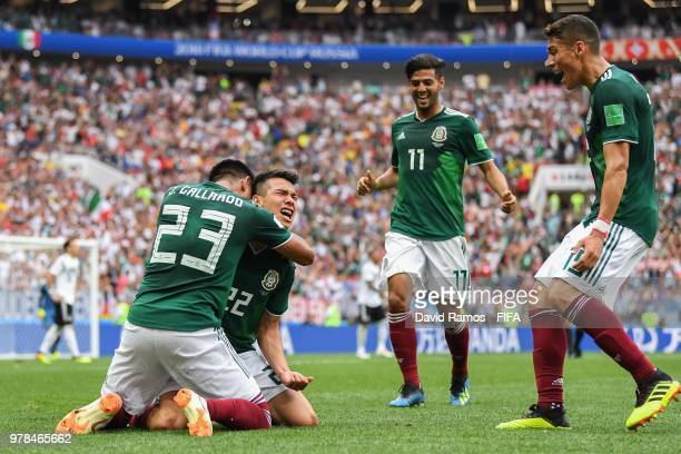 Hirving Lozano of Mexico celebrates with his team mates after scoring his team's first goal during the 2018 FIFA World Cup Russia group F match...