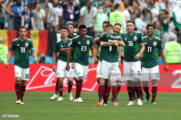 Hirving Lozano of Mexico celebrates with team mates of Mexico after scoring his team's first goal during the 2018 FIFA World Cup Russia group F match...