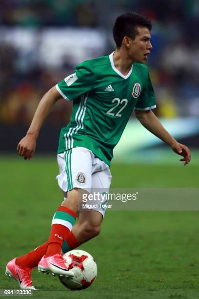 Hirving Lozano of Mexico drives the ball during the match between Mexico and Honduras as part of the FIFA 2018 World Cup Qualifiers at Azteca Stadium...